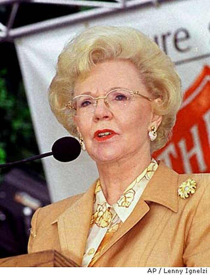 Mrs. Joan Kroc speaks of her late husband, Ray Kroc, and his dedication to The Salvation Army at a ceremony Wednesday, Sept. 23, 1998, in San Diego, Calif., where Mrs. Kroc announced an $80 million gift to build a community center in San Diego. It is the largest single gift ever given to The Salvation Army. (AP Photo/Lenny Ignelzi) Photo: LENNY IGNELZI