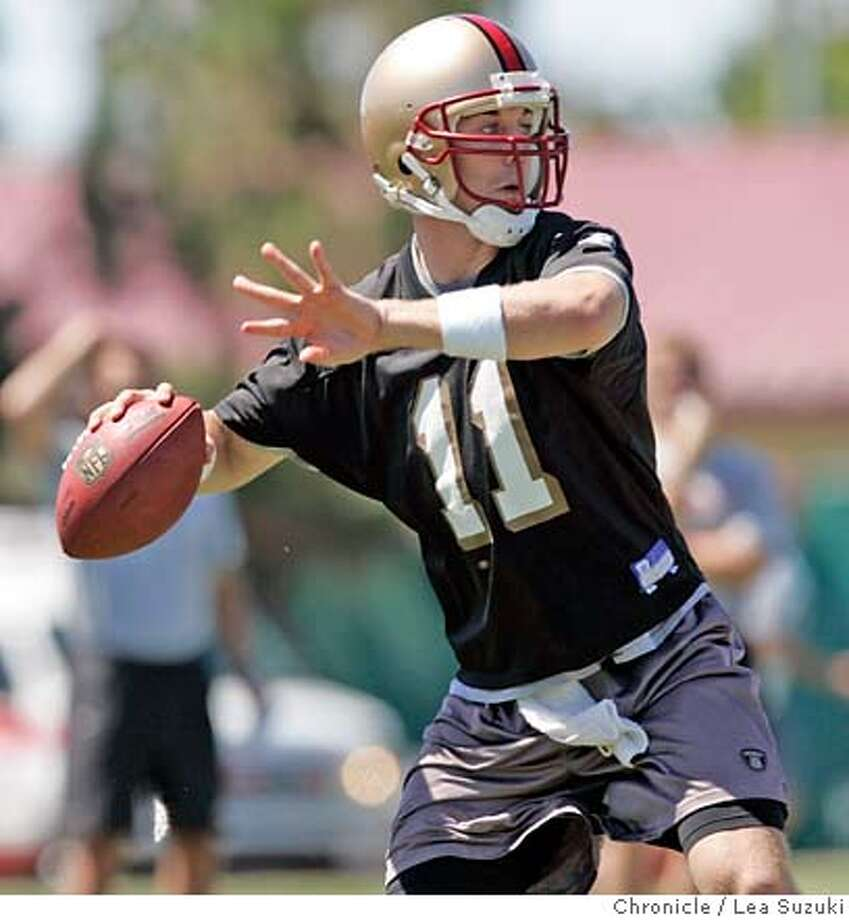 49ers_0281_ls.jpg  #11 Alex Smith works out during the 49ers first practice of training camp. Photo taken on 072907 in Santa Clara, CA.  Photo by Lea Suzuki/ The Chronicle  (Alex Smith)cq MANDATORY CREDIT FOR PHOTOG AND SF CHRONICLE/NO SALES-MAGS OUT. Photo: Lea Suzuki