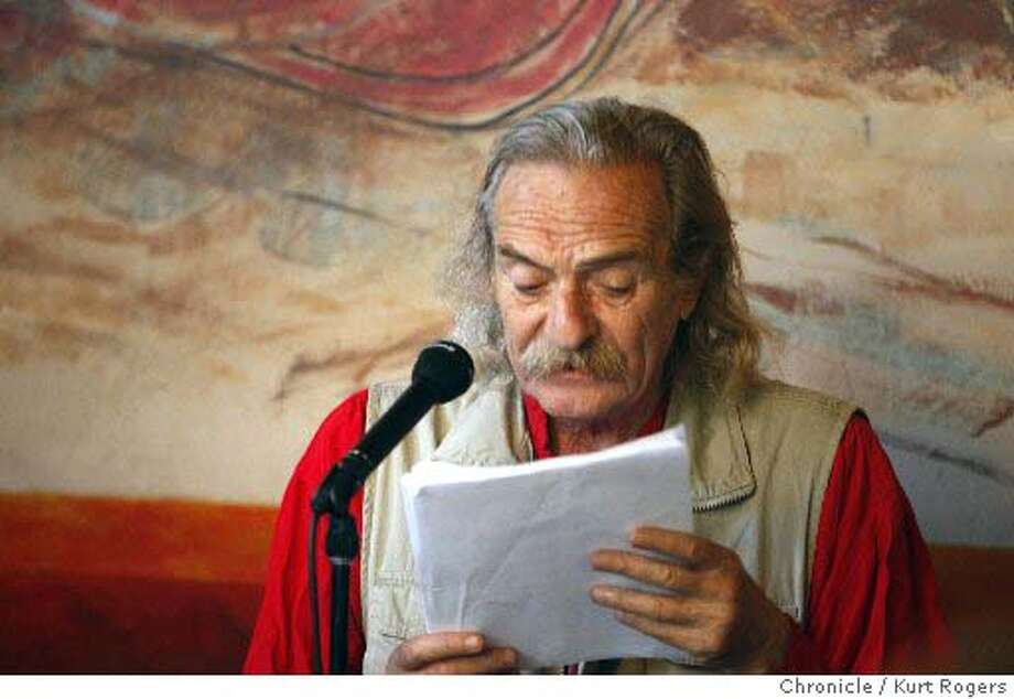 poet Jack Hirschman reads a letter from Iraqi Poet Sabah Jasim .  Poetry reading at Cafe Triest .Lawrence Ferlinghetti and others read . SATURDAY, JULY 28, 2007 KURT ROGERS SAN FRANCISCO SFC  THE CHRONICLE SFPOETREY30_0010_kr.jpg  Ran on: 07-30-2007  Poet Laureate Jack Hirschman conceived the free festival.