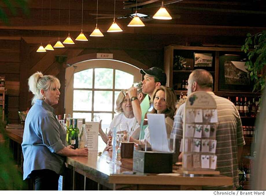 tastingroom032.JPG  The tasting bar at Sutter Home is long and roomy...many visitors try the famous White Zinfandel.  The Sutter Home winery tasting room just off highway 29 in St. Helena features a long tasting bar area, clothing, and menu items that go with their wide selection of wines.  {Brant Ward/San Francisco Chronicle}5/8/07 Ran on: 06-15-2007  Sutter Home was the first Napa Valley winery to offer free tastings -- and it still does. Photo: Brant Ward