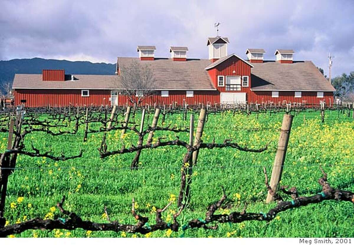 (For Frog's Leap Red Barn 2001): TRAVEL NAPA -- The Frog's Leap winery in Rutherford was the first Napa Valley winery to be certified organic, in 1987. Credit: Meg Smith 2001 Ran on: 10-22-2006 The Frogs Leap winery was the first Napa Valley winery certified organic. It continues to be environmentally friendly. Ran on: 10-22-2006