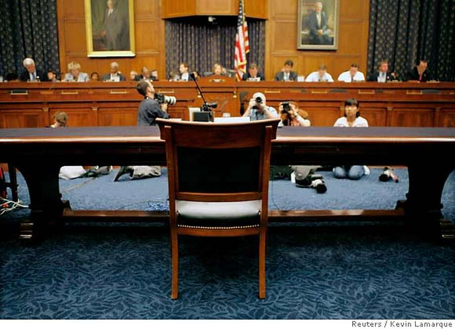 A chair reserved for former White House counsel Harriet Miers sits vacant at a hearing of the House Judiciary Committee about the controversy over the firing of nine U.S. attorneys last year on Capitol Hill in Washington July 12, 2007. U.S. President George W. Bush claimed executive privilege on Monday to shield former White House political director Sara Taylor and Miers from having to testify to Congress about the dismissals. REUTERS/Kevin Lamarque (UNITED STATES)  Ran on: 07-29-2007  A vacant chair waits for Harriet Miers to appear before the House Judiciary Committee. Photo: KEVIN LAMARQUE