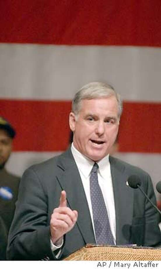 Democratic presidential hopeful former Gov. Howard Dean of Vermont, delivers an address to a crowd of supporters at the Great Hall at Cooper Union, Wednesday, Nov. 5, 2003 in New York. Dean announced that he is turning over the most important decision of his presidential campaign to 600,000 supporters, asking them to vote by e-mail, Internet, telephone or U.S. mail on whether he should remain in the federal election financing system. (AP Photo/Mary Altaffer) Former Gov. Howard Dean Nation#MainNews#Chronicle#11/6/2003#ALL#3star##0421472525 Photo: MARY ALTAFFER