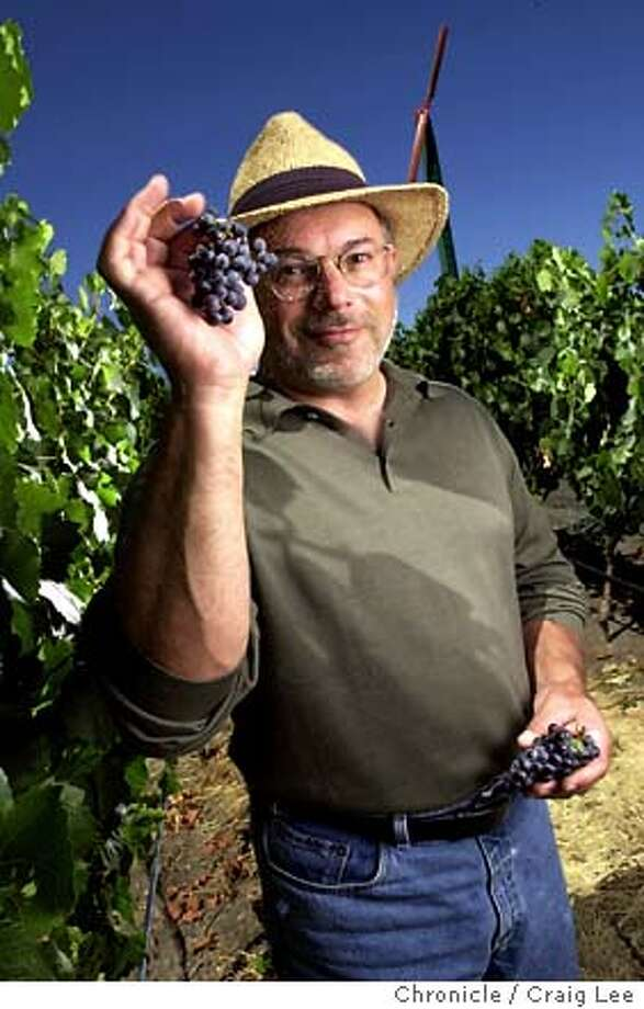 Tony Soter of Etude Winery in the Etude Estate Vineyard in Sonoma, California. He is holding some of his Pinot Noir grapes. Event on 8/12/03 in Sonoma.  CRAIG LEE / The Chronicle Photo: CRAIG LEE