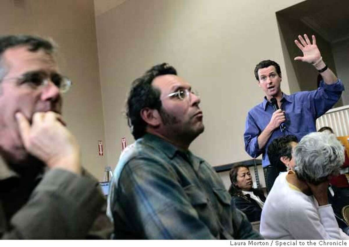 Newsom29_0269_LKM.jpg San Francisco Mayor Gavin Newsom speaks to a crowd of city residents during a town hall style meeting Saturday morning at Jefferson Elementary School in the Sunset District. The meeting addressed questions and concerns about issues associated with city parks and recreation. (Laura Morton/Special to the Chronicle) *** Gavin Newsom 43900