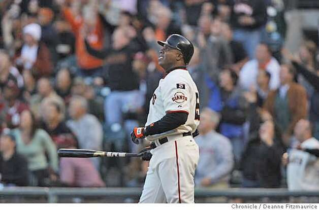 Barry Bonds watches the ball as he hit home run number 754 in the bottom of the first inning off of Marlins starter Rick Vanden Hurk.  Florida Marlins play the San Francisco Giants at AT&T Park in San Francisco, CA, on Friday, July, 27 2007. photo taken: 07/27/2007  Deanne Fitzmaurice / The Chronicle ** (cq) Photo: Deanne Fitzmaurice