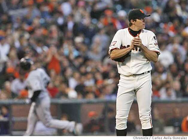 Giants Starter Barry Zito after Florida Marlin's center fielder Cody Ross hit a two-run home run in the top of the third inning. Florida Marlins play the San Francisco Giants at AT&T Park in San Francisco, CA, on Friday, July, 27 2007. photo taken: 07/27/2007  Carlos Avila Gonzalez / The Chronicle ** (cq) Photo: Carlos Avila Gonzalez