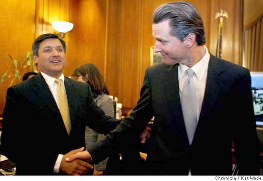 MAYORbudget_0029_KW.JPG  On July 27, 2007 Mayor Gavin Newsom (RIGHT) shakes hands with City Treasurer, Jose Cisneros after signing the new city budget Friday in his office in City Hall. Kat Wade/The Chronicle  Jose Cisneros and Mayor Gavin Newsom (CQ, subject) Mandatory Credit for San Francisco Chronicle and photographer, Kat Wade, No Sales Mags out Photo: Kat Wade
