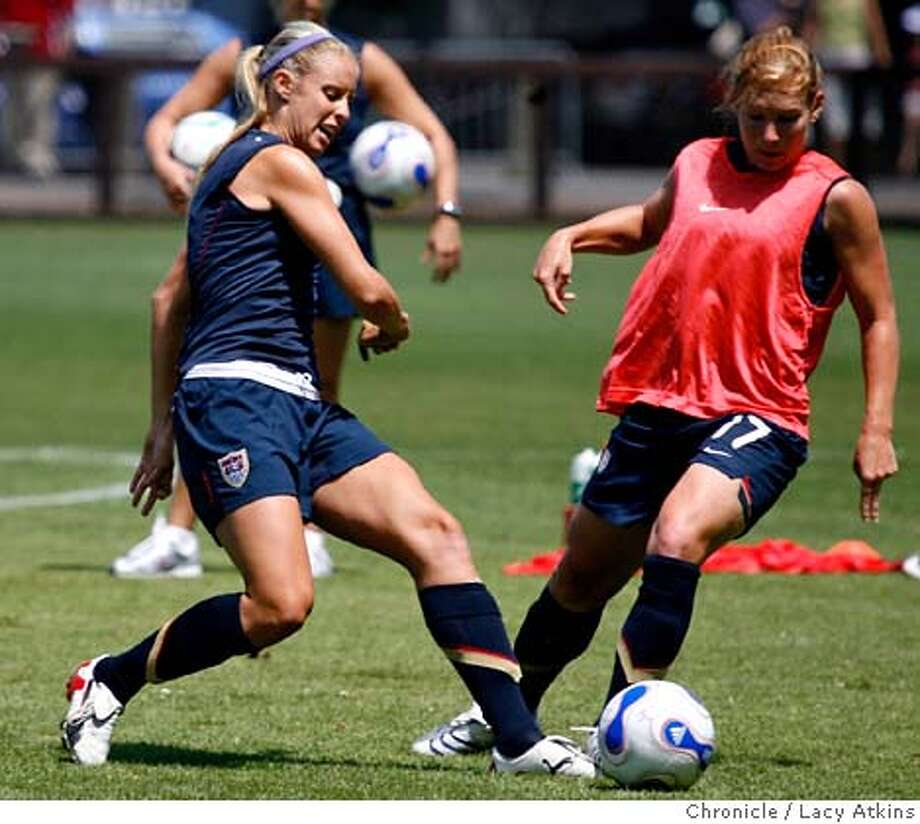 Leslie Osborne and Lori Chalupny of the US Women's Soccer team practice for the upcoming World Cup tune-up against Japan, Tuesday July 24, 2007, in Stanford, Ca. (Lacy Atkins /San Francisco Chronicle)  *Leslie Osbone  **Lori Chalupny MANDATORY CREDITFOR PHOTGRAPHER AND SAN FRANCISCO CHRONICLE/NO SALES-MAGS OUT Photo: Lacy Atkins