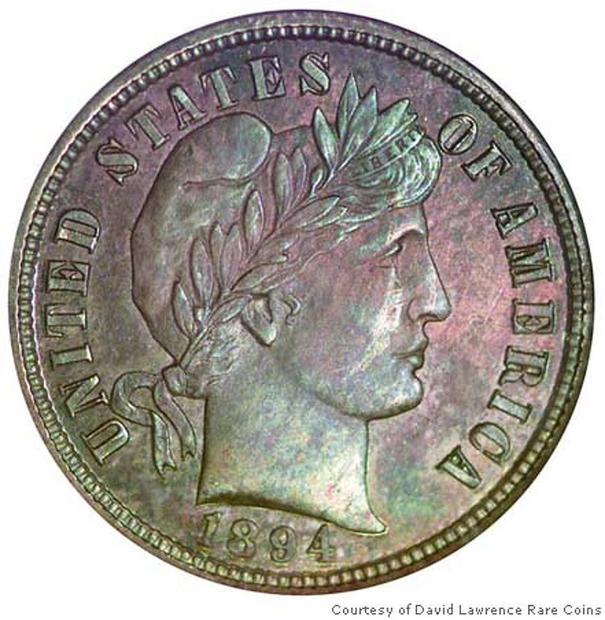 This 113-year old dime, one of only nine surviving examples made in 1894 at the San Francisco Mint, has been sold by an Oakland, California collector to a New York City banker for a record $1.9 million, according to John Feigenbaum of David Lawrence Rare Coins in Virginia Beach, Virginia who brokered the transaction and hand-carried the valuable coin cross country to its anonymous new owner. (Photo dated July 24, 2007 and courtesy of David Lawrence Rare Coins.) Photo credit: David Lawrence Rare Coins ------------------------