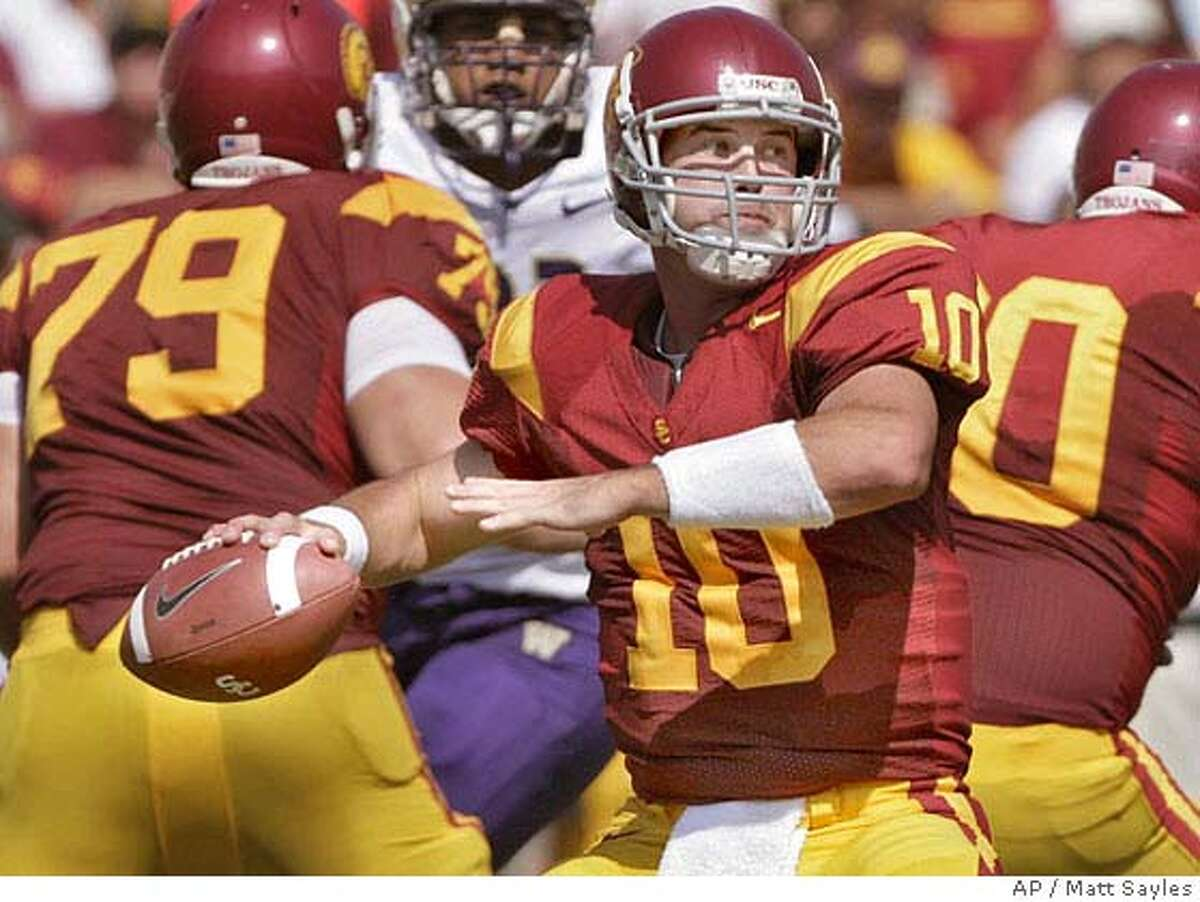 Southern California quarterback John David Booty throws a pass against University of Washington during the first half of football in Los Angeles on Saturday, Oct. 7, 2006. (AP Photo/Matt Sayles)