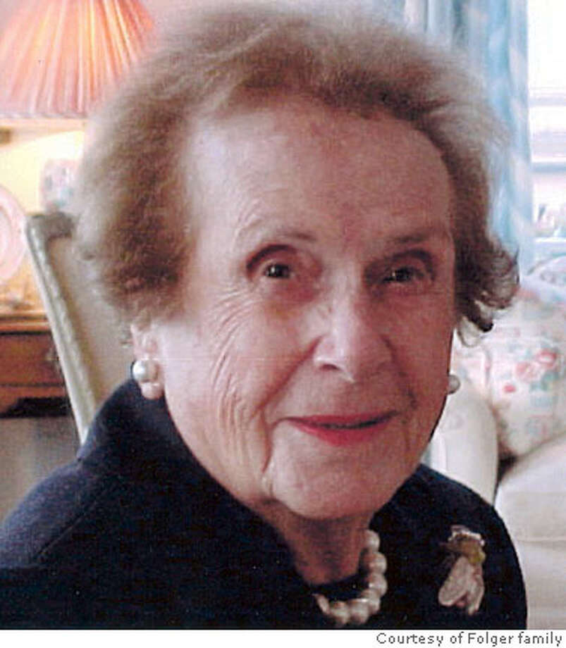 Obit photo of Inez M. Folger.  Photo courtesy Folger family  Ran on: 07-27-2007  Ines Mejia Folger was 100 at the end of her engaged life.  Ran on: 07-27-2007 Photo: Photo Courtesy Folger Family