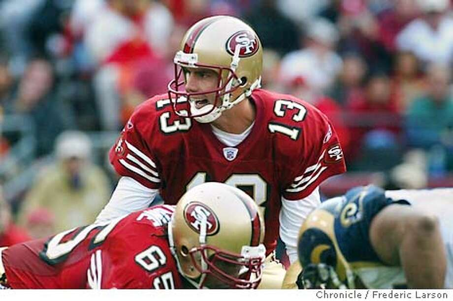 ; 49ers QB Tim Rattay beats the Rams 30-10 with 3TD and 236 yards passing. San Francisco 49ers vs St. Louis Rams at Candlestick park, San Francico. FREDERIC LARSON / The Chronicle Photo: FREDERIC LARSON