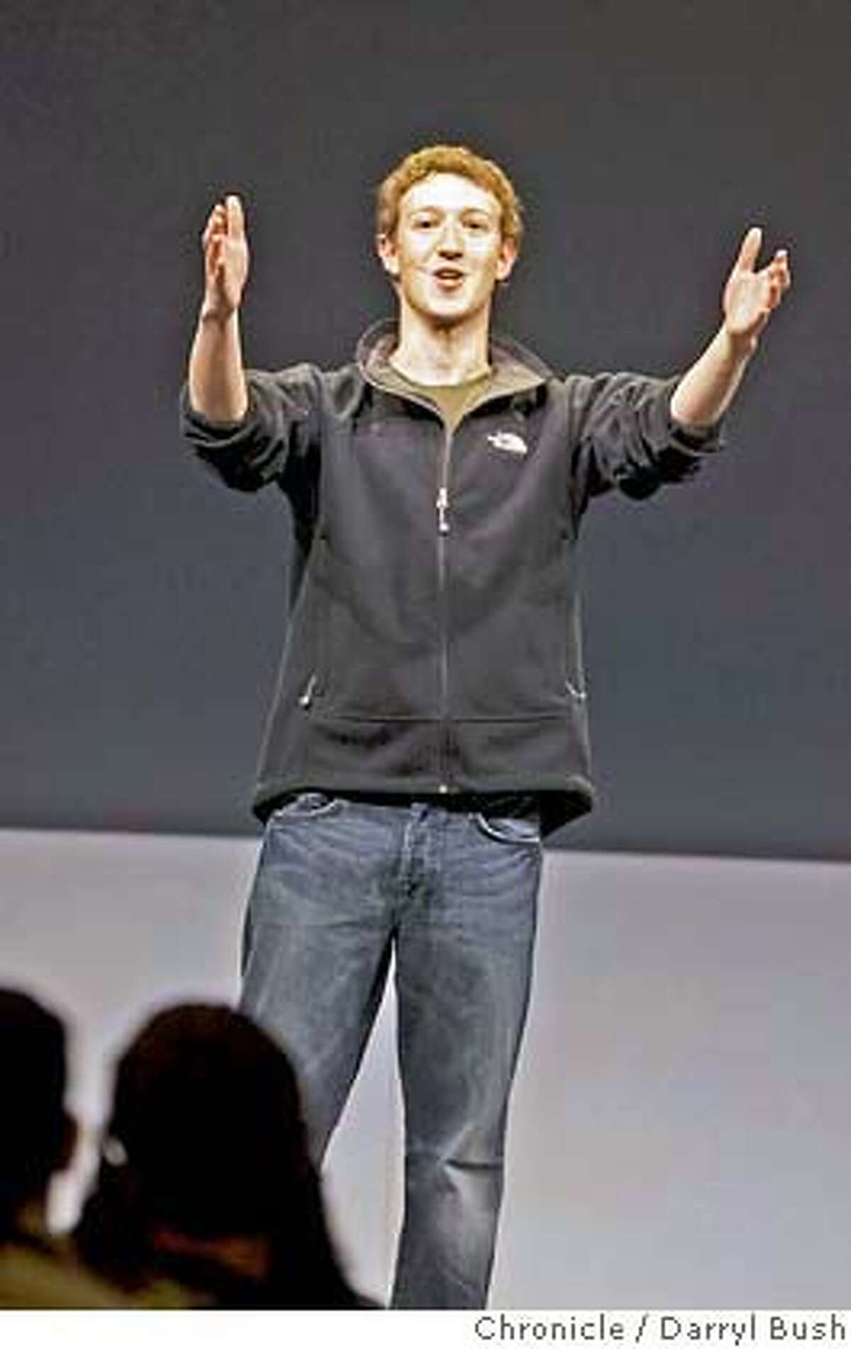 facebook25_0007_db.JPG Facebook CEO, Mark Zuckerberg, gives his keynote address to a large audience attending Facebook Platform Launch 2007 at The Concourse at the San Francisco Design Center in San Francisco, CA, on Thursday, May, 24, 2007. photo taken: 5/24/07 Darryl Bush / The Chronicle ** (cq) MANDATORY CREDIT FOR PHOTOG AND SF CHRONICLE/NO SALES-MAGS OUT