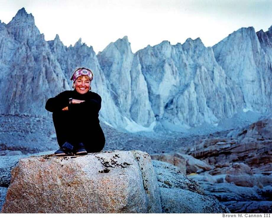 ": ""callwild""  CAP: ""Carole Latimer, founder of the women's outdoor guide service, Call  of the Wild, based in Berkeley, relaxes during one of the two dozen  trips she made to the summit of Mt. Whitney.""  FOR: Outdoors, Sports, 7/29 Photo: Brown W. Cannon III"