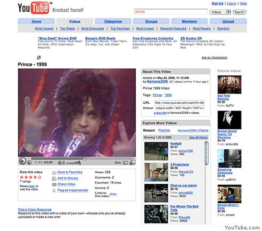 """Prince video for the song """"1999"""" shown playing on on YouTube.com. CREDIT: FRAME GRAB FROM YOUTUBE.COM. Ran on: 07-26-2007  Prince's video of the song &quo;1999&quo; plays on YouTube. Nearly 30 percent of online video viewers say they use YouTube most often. Photo: YOUTUBE.COM."""
