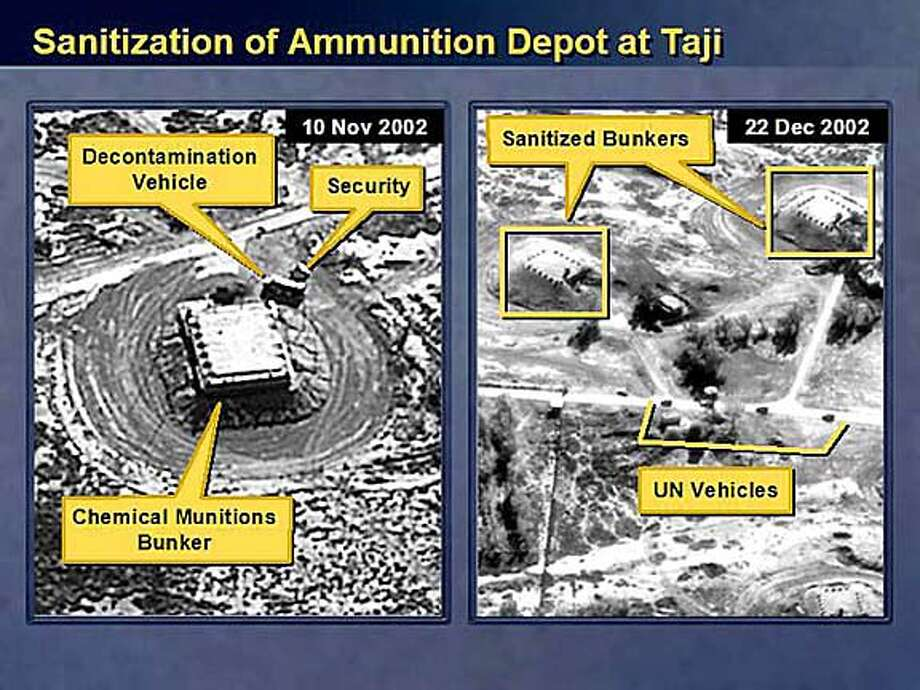 """** RETRANSMISSION TO INCLUDE ADDITIONAL CAPTION INFORMATION ** One of the slides that Secretary of State Colin Powell displayed during his presentation to the Security Council at the United Nations in New York on Wednesday, Feb. 5, 2003, is seen in this photo from the State Department. Powell said """"this (Taji) is one of about 65 such facilities in Iraq. We know that this one has housed chemical munitions. In fact, this is where the Iraqis recently came up with the additional four chemical weapon shells."""" (AP Photo/Department of State)"""