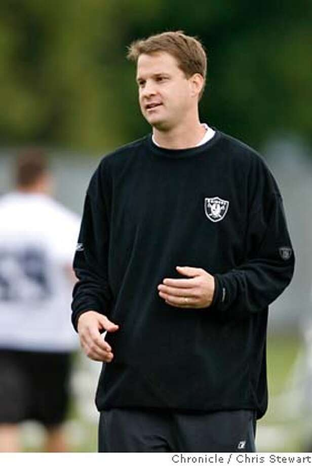 RAIDERS_0109_cs.jpg Event on 5/4/07 in Alameda.  Oakland Raiders head coach Lane Kiffin during a mini-camp at their Alameda headquarters. Chris Stewart / San Francisco Chronicle Ran on: 07-15-2007  Lane Kiffin has already replaced all but three assistants, oversaw a draft, installed a new offense, added 35 players and traded Randy Moss.  Ran on: 07-15-2007  Lane Kiffin has already replaced all but three assistants, overseen a draft, installed a new offense, added 35 players and traded Randy Moss. MANDATORY CREDIT FOR PHOTOG AND SF CHRONICLE/NO SALES-MAGS OUT Photo: Chris Stewart
