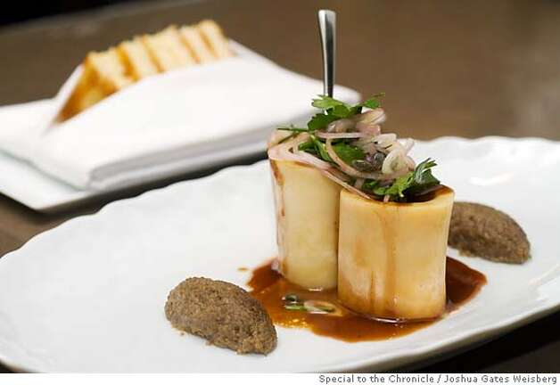 "43298 - LA_RESTAURANTS25 - ""Bone Marrow Flan, Mushroom Marmalade, Parsley Salad"" ($16) at Wolfgang Puck's CUT in Beverly Hills, California on July 14, 2007. By JOSHUA GATES WEISBERG/SPECIAL TO THE CHRONICLE Photo: JOSHUA GATES WEISBERG"