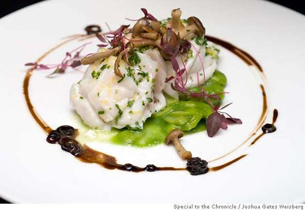 "43298 - LA_RESTAURANTS25 - ""Olive Oil Poached Halibut with Herbed Asparagus, Hon Shimeji Mushrooms and Pickled Ramp Vinaigrette"" at Hatfield's in Los Angeles, California on July 13, 2007. By JOSHUA GATES WEISBERG/SPECIAL TO THE CHRONICLE  Ran on: 07-22-2007 Photo: JOSHUA GATES WEISBERG"