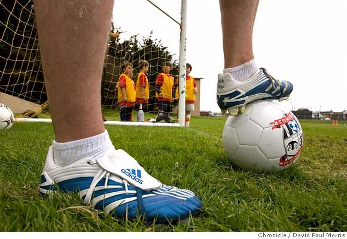 SAN FRANCISCO, CA - JULY 23: John Bristow wears a pair of Adidas Predator shoes made of Kangaroo hide as he teaches a soccer camp on July 23, 2007 in San Francisco, California. The Supreme Court of California ruled today in a unanimous decision that soccer shoes fashioned from kangaroo hide can no longer be sold in California.(Photo by David Paul Morris / The Chronicle)
