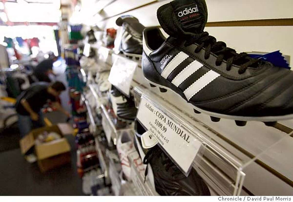 SAN FRANCISCO, CA - JULY 23: The popular Adidas Copa Mundial soccer shoe made of Kangaroo hide is shown on display at Sunset Soccer on July 23, 2007 in San Francisco, California. The Supreme Court of California ruled today in a unanimous decision that soccer shoes fashioned from kangaroo hide can no longer be sold in California.(Photo by David Paul Morris / The Chronicle)