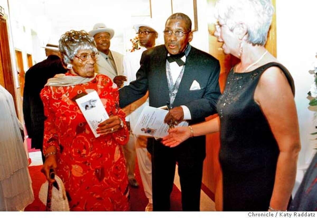 PAYTON24_065_RAD.jpg SHOWN: L to R: Esther Mabry, royalty of music, owner of famous Esther's Orbit Room in Oakland, is escorted into dinner by Jay Payton (R). Jay Payton, 81, Godfather of Bay Area R&B, celebrates 60 years in showbiz at Bates Hall in Oakland, CA. (Katy Raddatz/The Chronicle) **Jay Payton, Esther Mabry Mandatory credit for the photographer and the San Francisco Chronicle. No sales; mags out.
