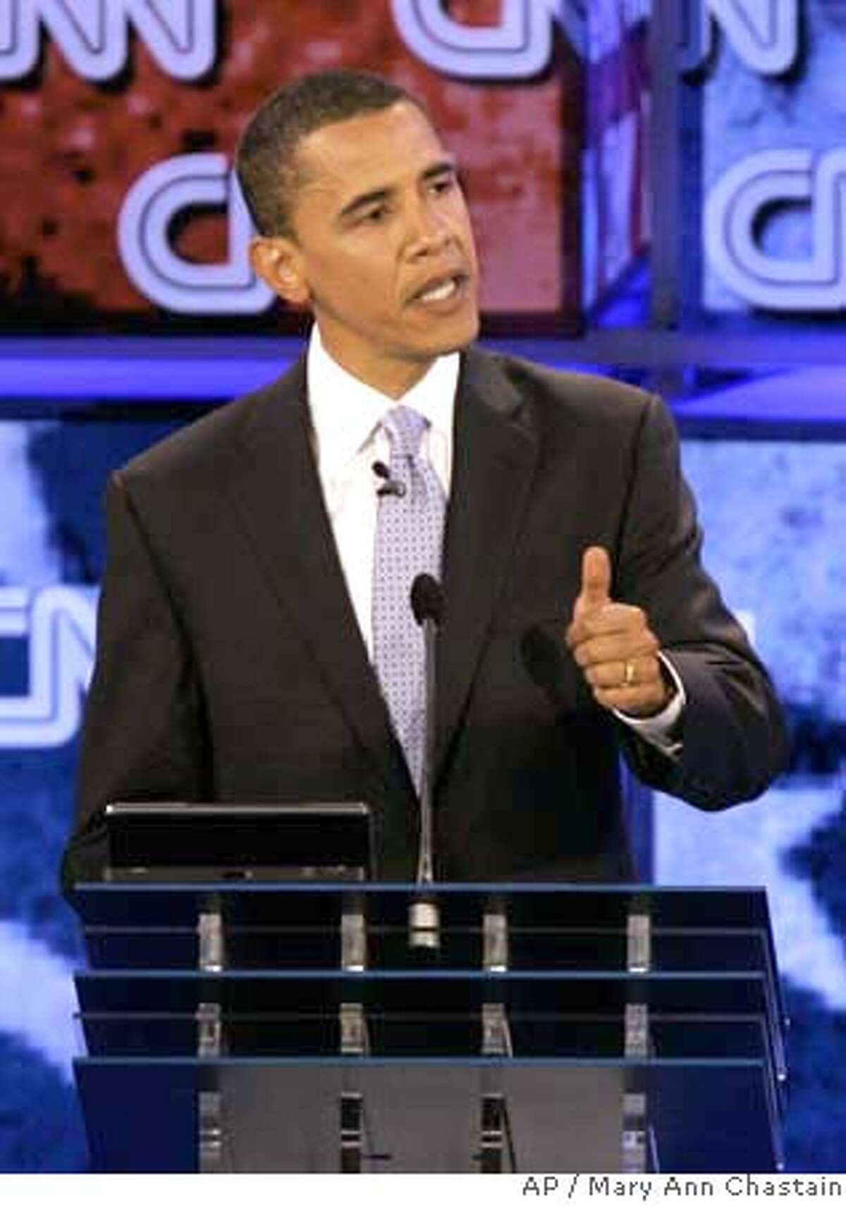 Democratic presidential hopeful Sen. Barack Obama, D-Ill. gestures during the debate sponsored by CNN, YouTube and Google at The Citadel military college in Charleston, S.C., Monday, July 23, 2007. (AP Photo/Mary Ann Chastain)