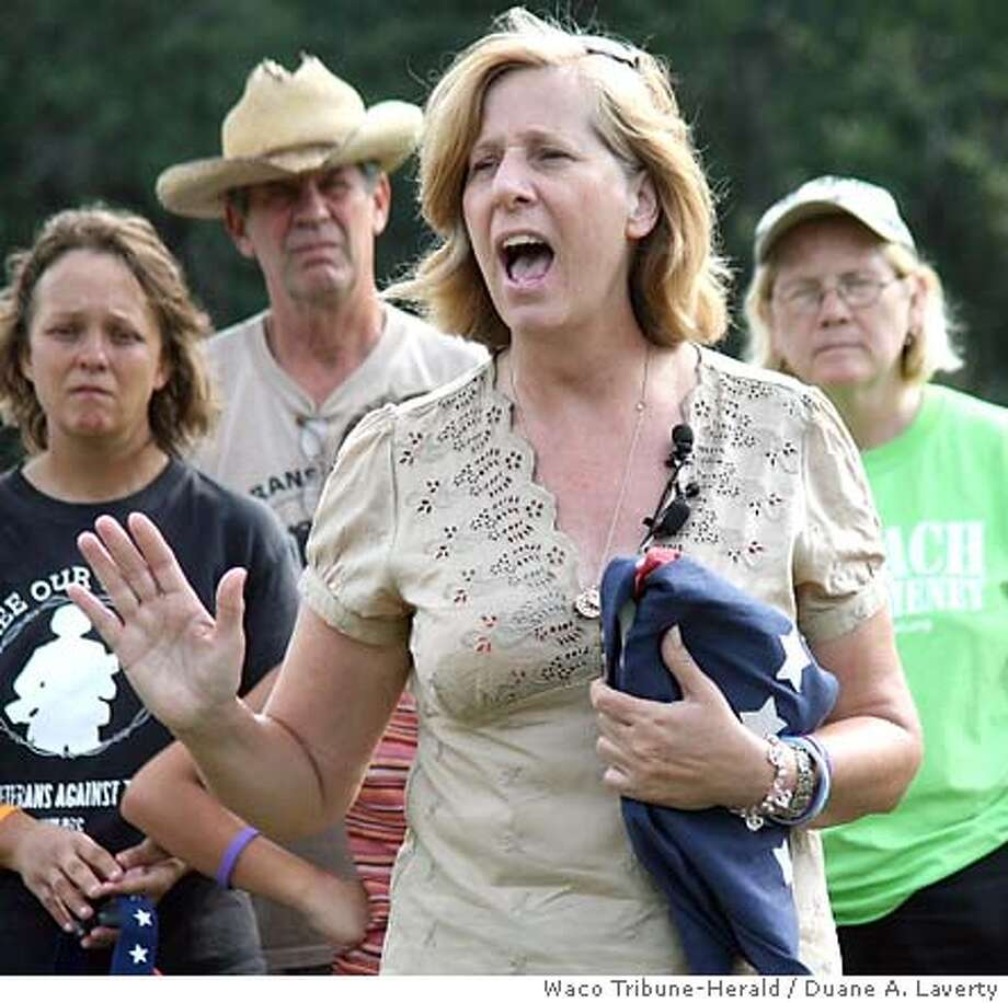 Cindy Sheehan says she'll run against Speaker of the House Nancy Pelosi if the San Francisco representative won't push to impeach the president. Waco Tribune-Herald photo by Duane A. Laverty