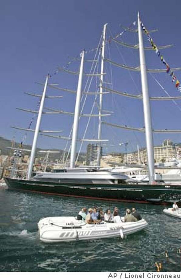 � The Maltese Falcon, 88-meter private sailing ship completely constructed in Turkey by Perini Navi , with three unprecedented rotating masts and 2,400 square meters of sail area, is seen at the 16th edition of the Monaco Yacht Show, Thursday, Sept. 21, 2006, in Monaco.The Maltese Falcon costs around 100 millions euros (127 millions US dollars). The Monaco Yacht Show, taking place at Port Hercules in Monaco, is the only boat show devoted exclusively to luxury yachting. (AP Photo/Lionel Cironneau) Photo: LIONEL CIRONNEAU