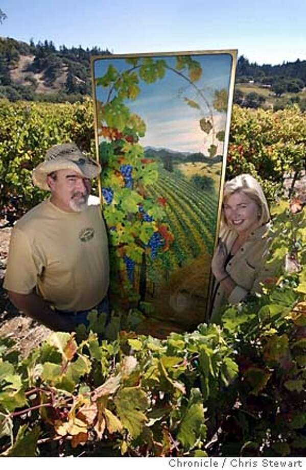 artevino0060_cs.jpg Event on 10/16/03 in Yorkville. Tom Rodrigues and his wife Linda Stutz hold one of Tom's paintings, which is featured on wine labels at their Maple Creek Winery in Yorkville, Mendocino County. Tom is an artist whose stained glass work is in the Palace Hotel and Skywalker Ranch, and whose paintings of famous baseball stars are in Cooperstown and had their day on the field at Candlestick. Now, as a winemaker, he's bringing his artistry to wine. Chris Stewart / The Chronicle Photo caption  1066176000The Chronicleartevino0060_cs.jpg__Event on 10-16-03 in Yorkville.__Tom Rodrigues and his wife Linda Stutz hold one of Tom's paintings, which is featured on wine labels at their Maple Creek Winery in Yorkville, Mendocino County. Tom is an artist whose stained glass work is in the Palace Hotel and Skywalker Ranch, and whose paintings of famous baseball stars are in Cooperstown and had their day on the field at Candlestick. Now, as a winemaker, he's bringing his artistry to wine.__Chris Stewart - The Chronicle__MANDATORY CREDIT FOR PHOTOG AND SF CHRONICLE- -MAGS OUT Photo: Chris Stewart