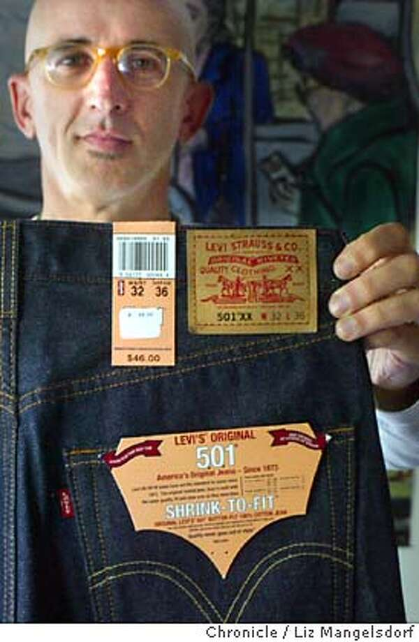 levis30039_LM.jpg Event on 10/29/03 in San Francisco. David Weissman, a longtime Levi's 501 customer, who is upset by the company changing the fit of they 501 jeans, holds up one of the new pair of 501XX jeans. The label on the 501XX jeans, which also have a different pocket stitching.  LIZ MANGELSDORF / The Chronicle Photo: LIZ MANGELSDORF