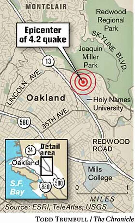 Epicenter of 4.2 Quake. Chronicle graphic by Todd Trumbull