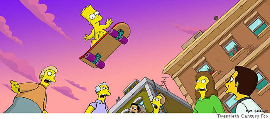 S-13 Bart Simpson flies through the air in an epic skateboarding trip that was apparently clothing-optional.  Ran on: 07-22-2007  Look, up in the sky {hellip} it's a bird, it's a plane, no, it's Bart! In the buff, in &quo;The Simpsons Movie.&quo; Don't have a cow, man. Photo: Twentieth Century Fox