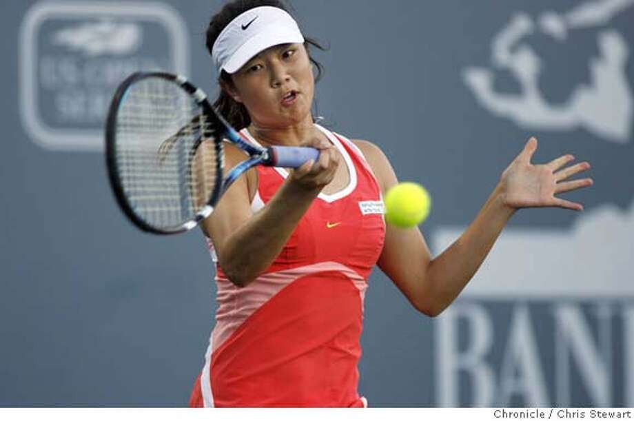 tennis25_093_cs.jpg Event on 7/24/06 in Stanford. Stanford graduate Amber Liu (pictured) plays No. 7 seed Shahar Peer of Israel in the Bank of the West Tennis Classic being played at Stanford's Taube Family Tennis Stadium. Liu won the first set 6-4. While at Stanford Liu was a four-time All-American, two-time NCAA Singles Champion and 2005 NCAA Doubles Finalist. Chris Stewart / The Chronicle MANDATORY CREDIT FOR PHOTOG AND SF CHRONICLE/NO SALES-MAGS OUT Photo: Chris Stewart