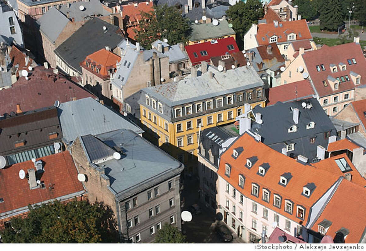 Roofs of the Old City (Old City, Riga, Latvia). View from St. Peter Cathedral