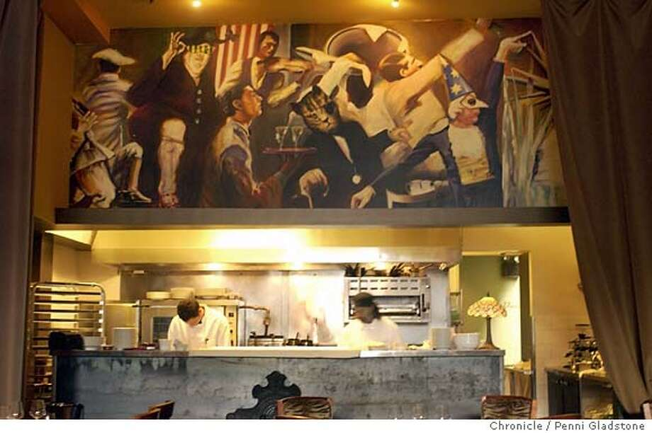 LATABLE2-C-11DEC02-MG-PG La Table restaurant on Sacto st. This is a kitchen in the front room with a wonderful mural above the work space  SAN FRANCISCO CHRONICLE PHOTO BY PENNI GLADSTONE Photo: PENNI GLADSTONE