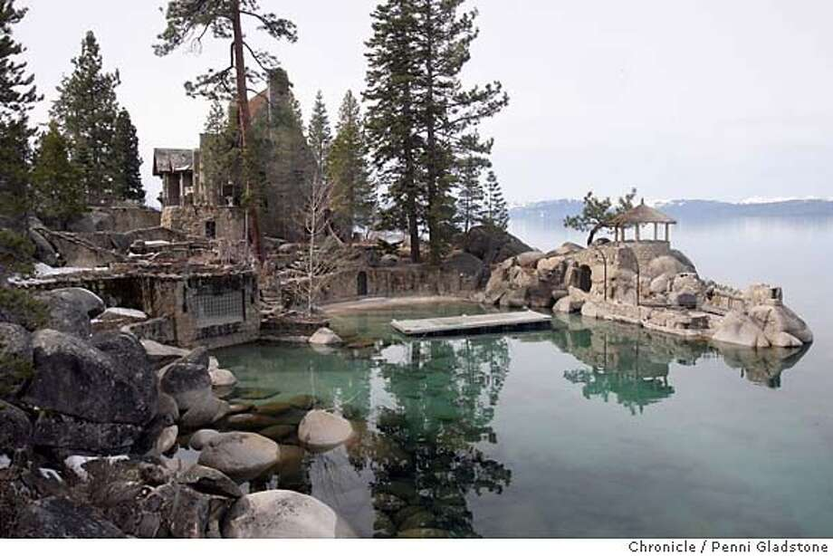 THUNDERBIRDLODGE056_PG.JPG  Tourquoise water shows off the private swimming beach on lake next to main house.  Perched on a cliff, the Thunderbird Lodge commands a spectacular view of Lake Tahoe. Event on 3/30/07 in Lake Tahoe.  penni gladstone / The Chronicle  Ran on: 07-21-2007  Cpl. Trent Thomas  Ran on: 07-21-2007  Cpl. Trent Thomas Photo: Penni Gladstone