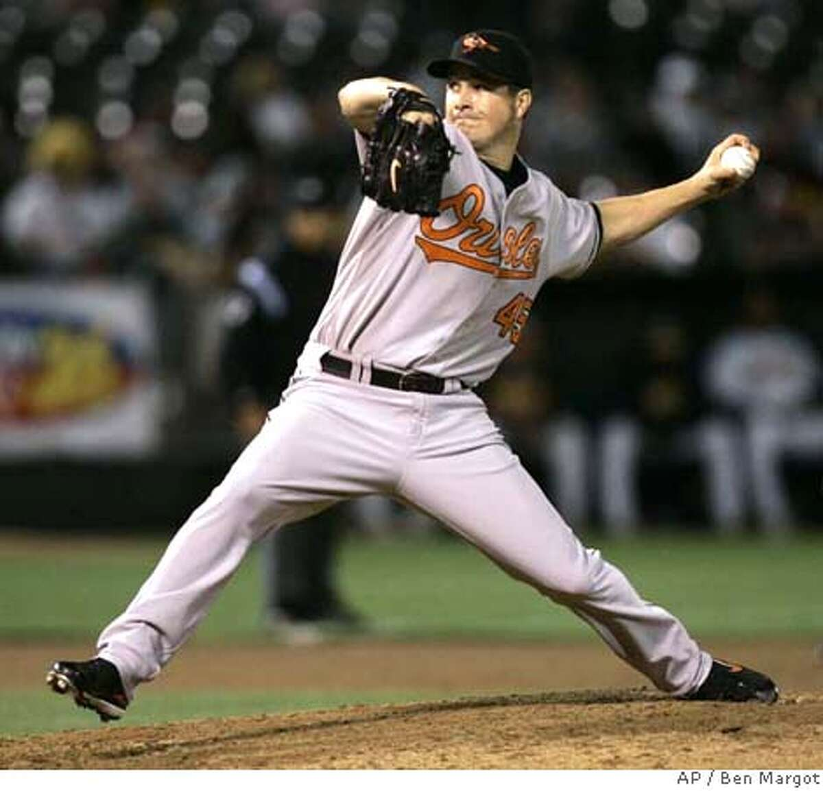 Baltimore Orioles' Erik Bedard works against the Oakland Athletics in the sixth inning of a baseball game Friday, July 20, 2007, in Oakland, Calif. (AP Photo/Ben Margot)
