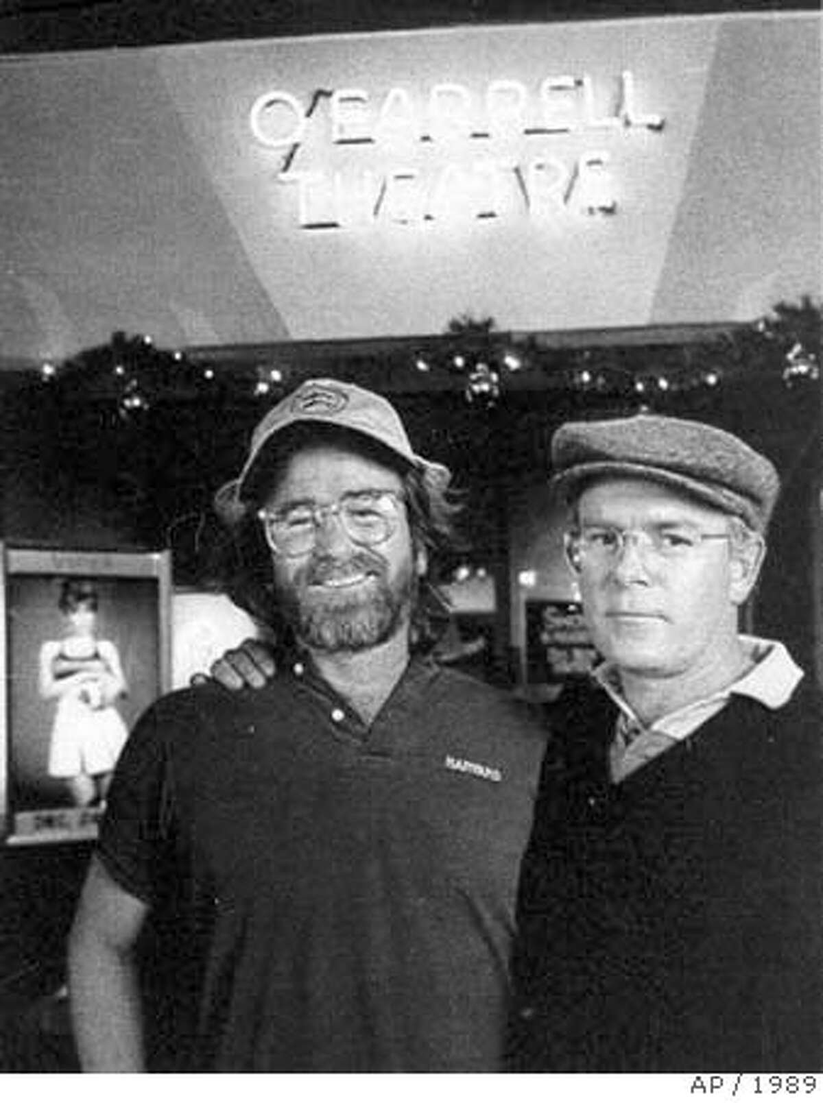 **FILE** Artie Mitchell, left, and his brother Jim Mitchell pose for a photograph in this file photo taken at the O'Farrell theater in San Francisco, Dec. 1989. Jim Mitchell, the pioneering pornographer who was convicted of killing his brother Artie with whom he built the Mitchell Brothers skin flick empire, died Thursday, July 12, 2007, at age 63, according to the Sonoma County coroner. (AP Photo) DEC. 1989 FILE PHOTO