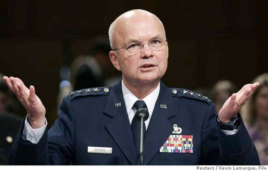 General Michael Hayden, U.S. President George W. Bush's nominee for CIA director, speaks during his confirmation hearing before the Senate Select Committee on Intelligence on Capitol Hill in Washington May 18, 2006. Hayden strongly defended a domestic eavesdropping program on Thursday, saying it was vital to protect the country against terrorism and did not violate Americans' civil rights. REUTERS/Kevin Lamarque  Ran on: 05-19-2006  Gen. Michael Hayden defended warrantless eavesdropping programs during hearings Thursday.  ALSO Ran on: 09-24-2006 Ran on: 09-24-2006 Ran on: 06-22-2007  CIA Director Michael Hayden said of the documents to be released, &quo;Most of it is unflattering, but it is CIA's history.&quo; 0 Photo: KEVIN LAMARQUE