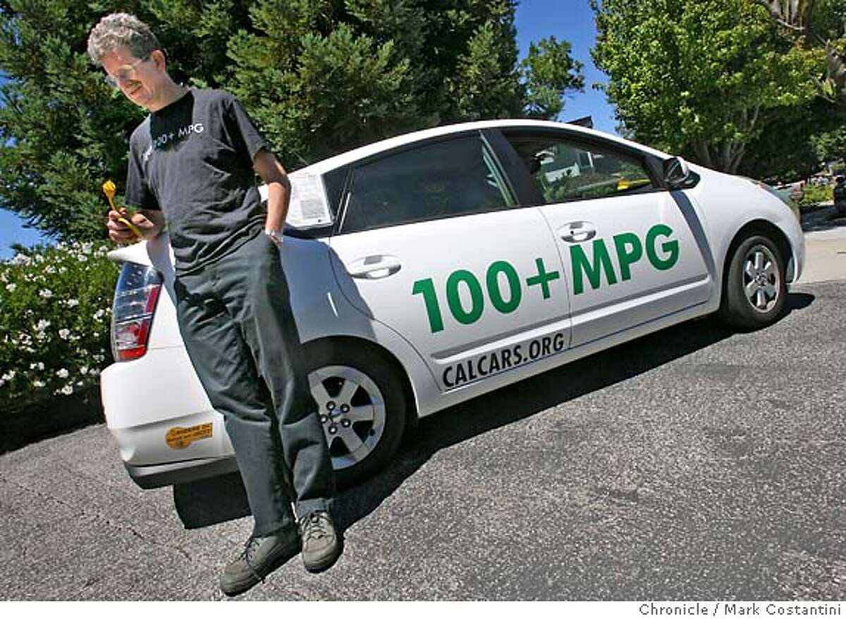 A top environmental group and a large utility lobbying association combine to tout the beneftits of hybrid electric plug-in vehicles. We visit Felix Kramer, a Redwood City man who founded a non profit group, calcars.org, that helps people convert their hybrid vehicles to plug-in hybrids...more than doubling the gas mileage of a Toyota Prius. Please shoot him and his vehicle that's been converted as well as any of the stuff he uses to convert hybrids into plugins. PHOTO: Mark Costantini / The Chronicle