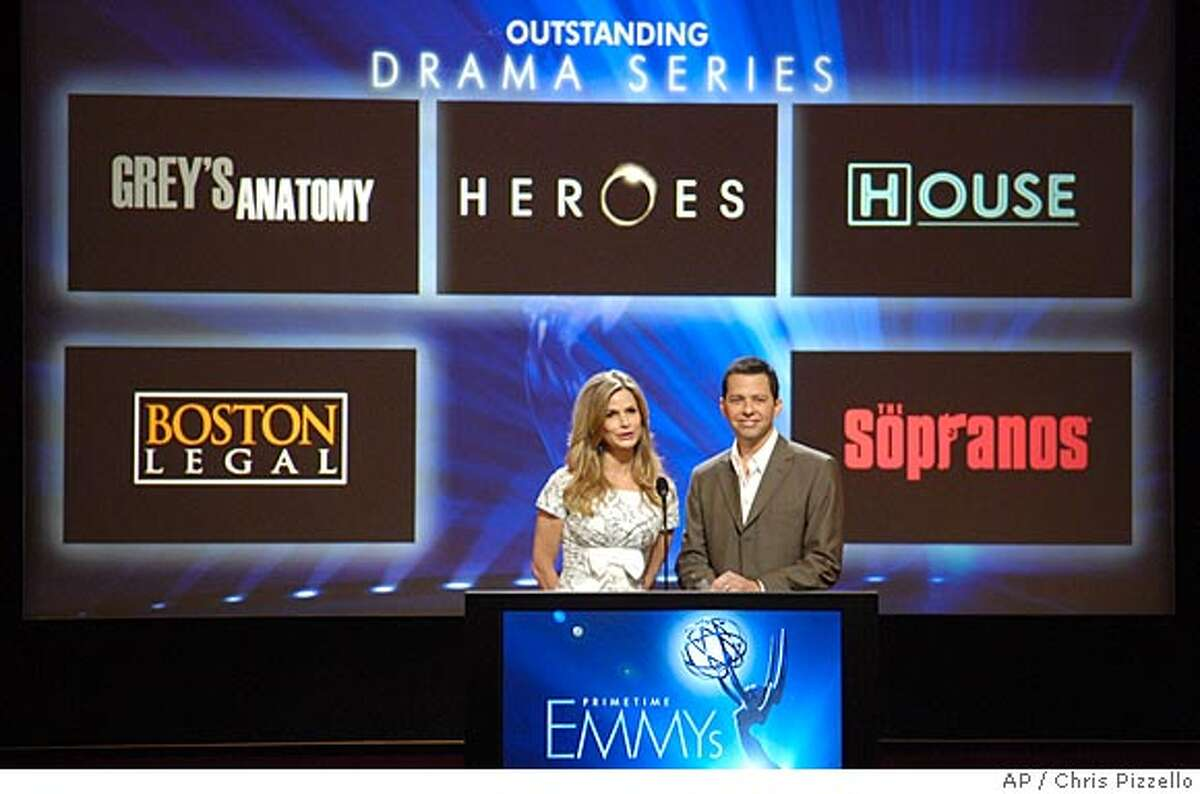 Actors Kyra Sedgwick, left, and Jon Cryer announce the nominees for Outstanding Drama Series for the 59th Annual Primetime Emmy Awards, in Los Angeles, Thursday, July 19, 2007. The Emmy Awards will be held on Sept. 16 at the Shrine Auditorium in Los Angeles. (AP Photo/Chris Pizzello)