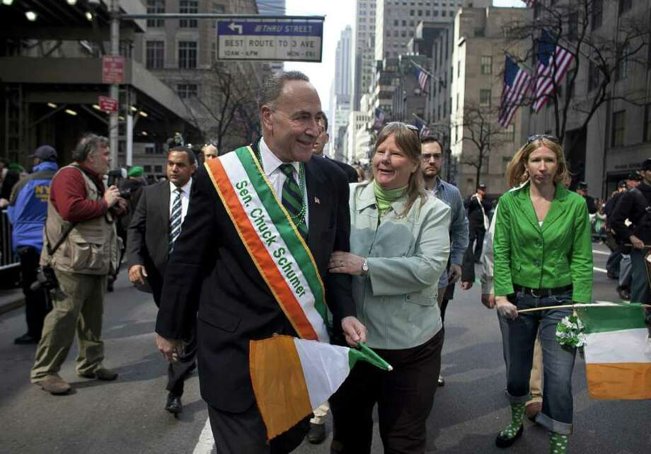 NEW YORK, NY - MARCH 17:  Sen. Chuck Schumer (D-NY) marches during the 251st annual St. Patrick's Day Parade March 17, 2012 in New York City. The parade honors the patron saint of Ireland and was held for the first time in New York on March 17, 1762, 14 years before the signing of the Declaration of Independence. Photo: Allison Joyce, Getty Images / 2012 Getty Images