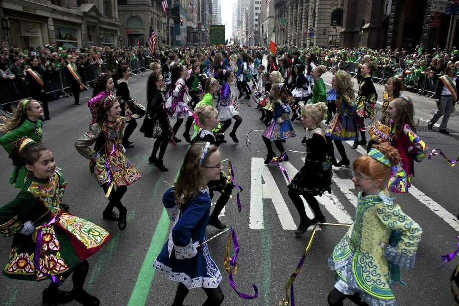 NEW YORK, NY - MARCH 17:   The Irish Dancing Music Association marches during the 251st annual St. Patrick's Day Parade March 17, 2012 in New York City. The parade honors the patron saint of Ireland and was held for the first time in New York on March 17, 1762, 14 years before the signing of the Declaration of Independence. Photo: Allison Joyce, Getty Images / 2012 Getty Images