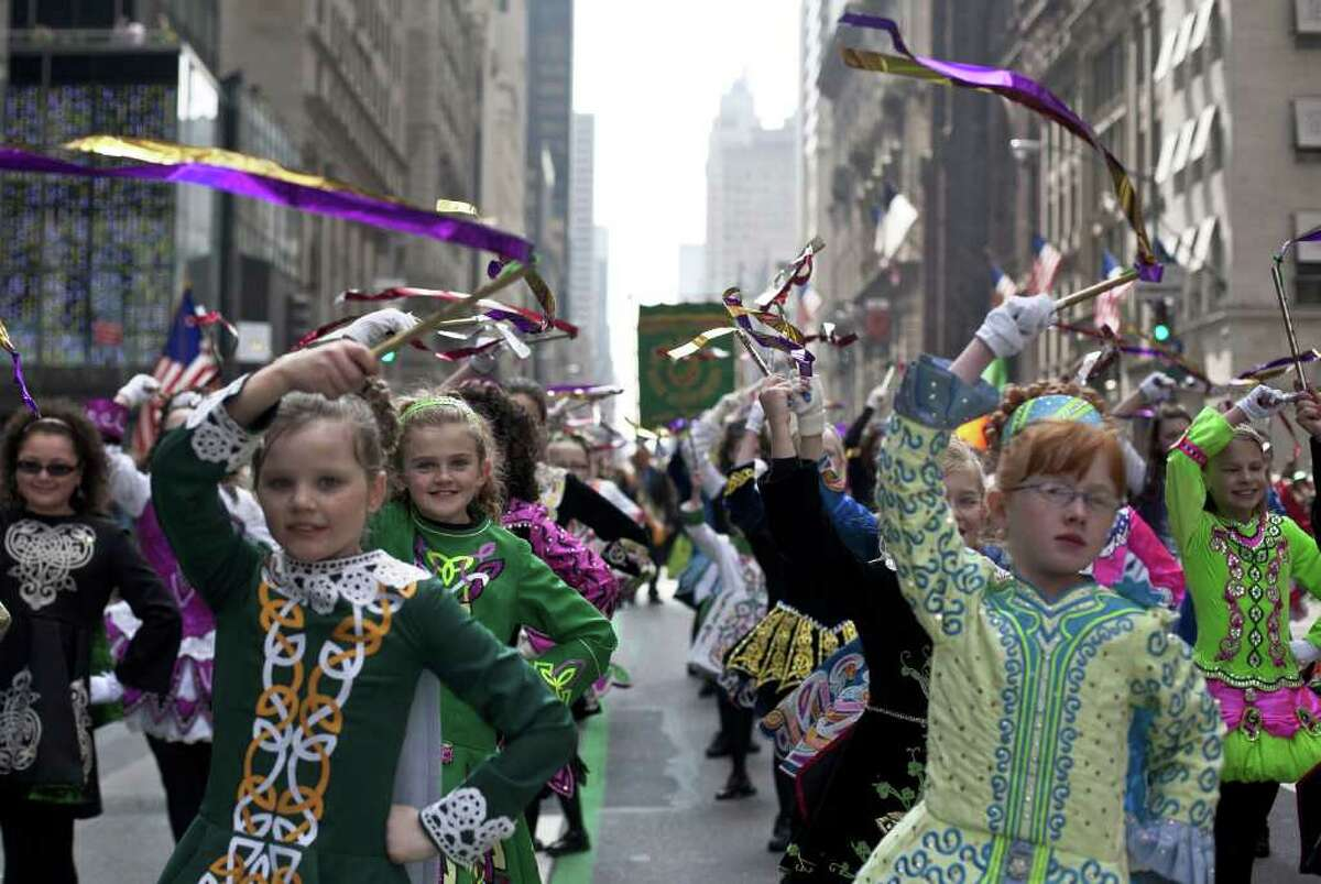 NEW YORK, NY - MARCH 17: The Irish Dancing Music Association marches during the 251st annual St. Patrick's Day Parade March 17, 2012 in New York City. The parade honors the patron saint of Ireland and was held for the first time in New York on March 17, 1762, 14 years before the signing of the Declaration of Independence.