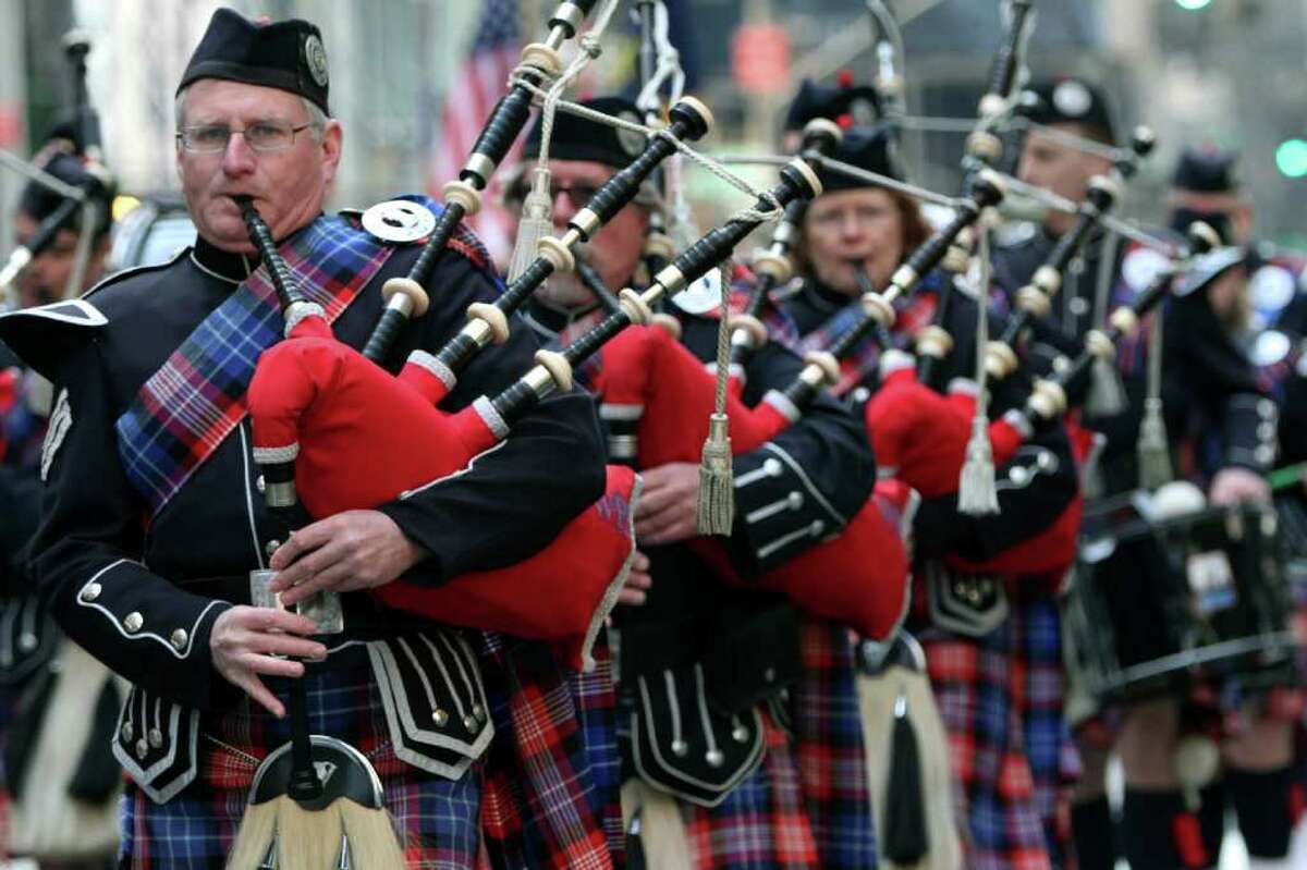 Bagpipers march up 5th Ave. during the 251st annual St. Patrick's Day Parade, Saturday, March 17, 2012 in New York.