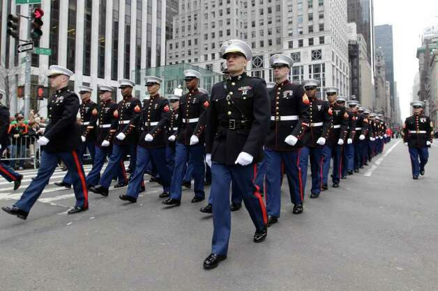 Members of the Marines march up 5th Ave. during the 251st annual St. Patrick's Day Parade,  Saturday, March 17, 2012 in New York. Photo: Mary Altaffer, AP / AP