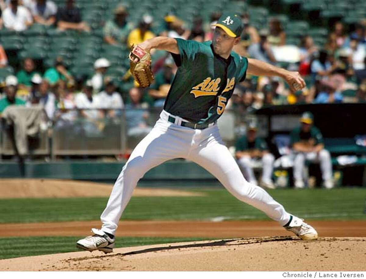 ATHLETICS_50272.JPG A's winning pitcher #56 Lenny Dinardo. The oakland Athletics Vs. The Texas Rangers at McAfee Coliseum in Oakland winning 6-0 (July18) Lance Iversen/The Chronicle (cq) SUBJECT 7/18/07,in OAKLAND. CA.