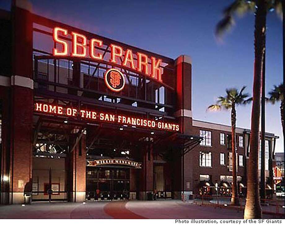 New logo for SBC Park - formerly Pac Bell Park. The style will remainn the same. Photo Illustration courtsey of the SF Giants. SBC Park's new logo, as shown in this photo illustration, will be reminiscent of the original sign, SBC Park's new logo, as shown in this photo illustration, will be reminiscent of the original sign. SBC Parks' new sign will be reminiscent of the original. SBC Park's new sign will be reminiscent of the original.